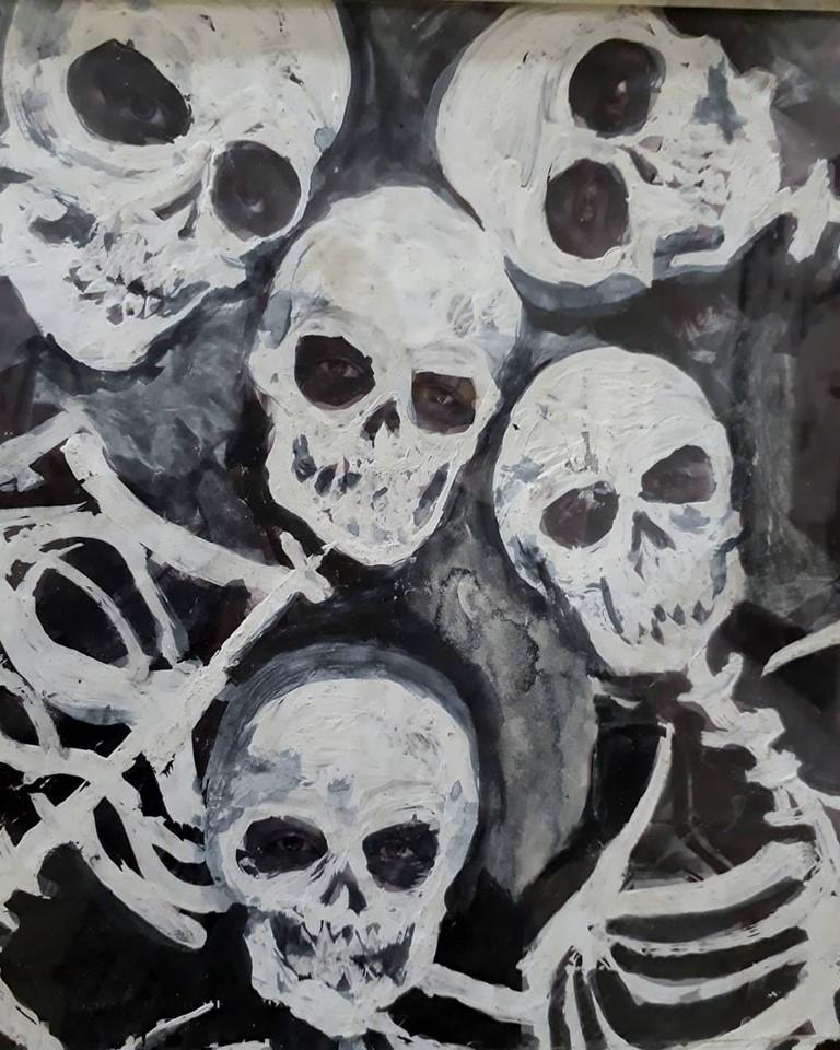 """El viernes pasado,  con un numeroso marco de público, el reconocido artista plástico local Adrián """"Negro"""" Mastorchio inauguró una muestra de pinturas en Espacio Menéndez."""