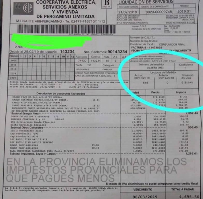 Una vez más, la Cooperativa Eléctrica facturó mal una de sus boletas. Esta vez contabilizó el número de medidor en vez del consumo del propietario.