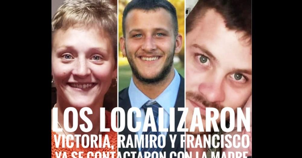 Ramiro, Victoria y Francisco Hortis, hijos de Cecilia Crovetto.