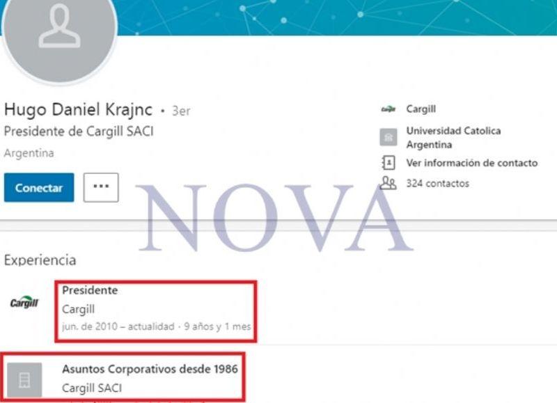 Según la descripción de Linkedin, el señor Hugo Krajnc sigue vigente en Cargill. (Foto: NOVA)